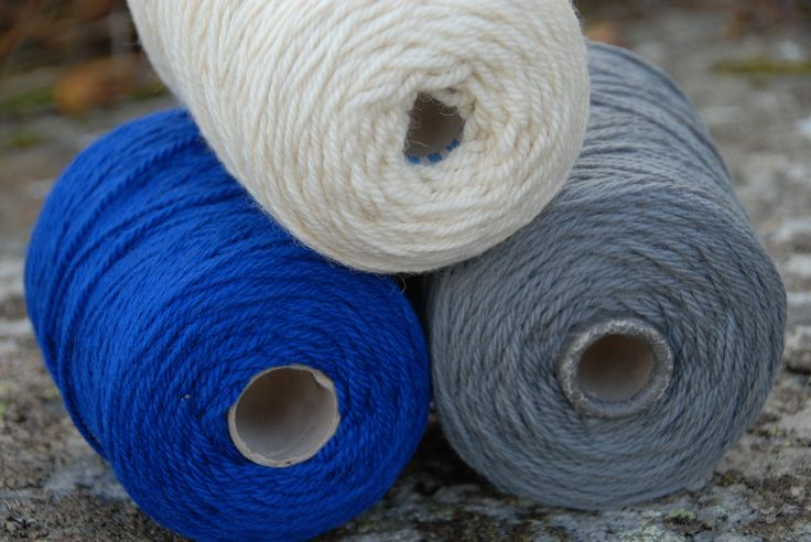 The chunky yarn produced from my rare breed Portland sheep. Clotted cream - their true colour, and electric royal blue and granite grey - both dyed naturally for me by The Natural Fibre Co in Cornwall.