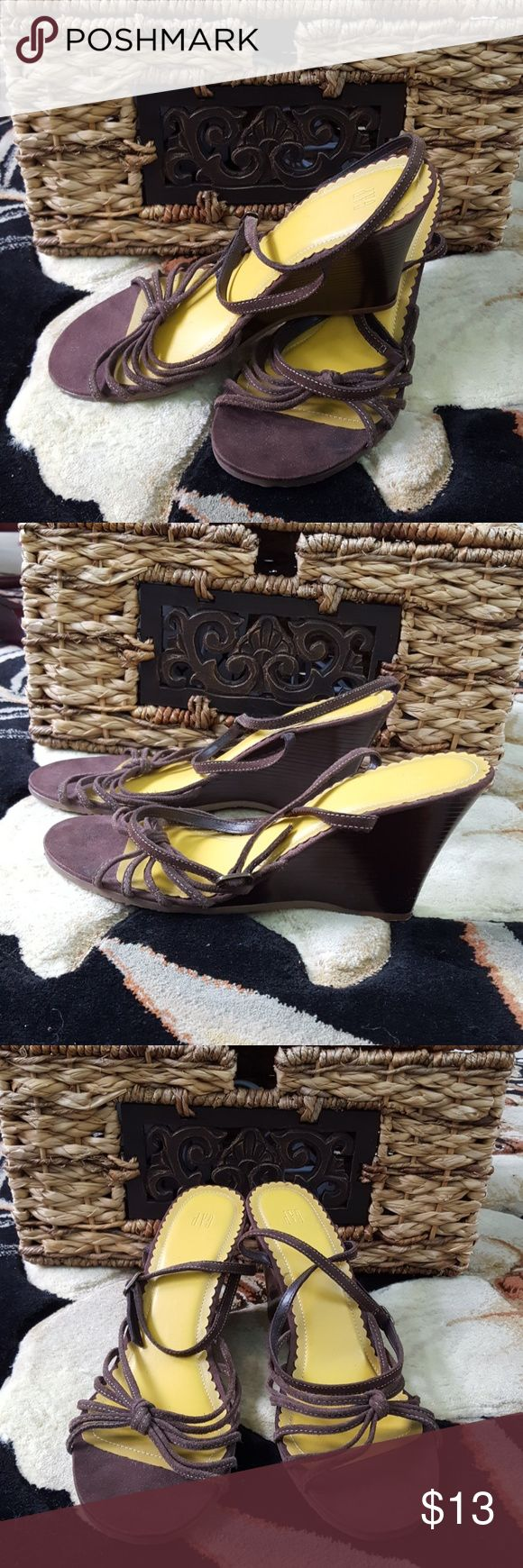 Gap Strappy Wedge Sandals Brown strappy sandal wedges Good pre loved condition Appx 3.5 inch heel Add to a min $40. bundle and...... You can have these for FREE! GAP Shoes