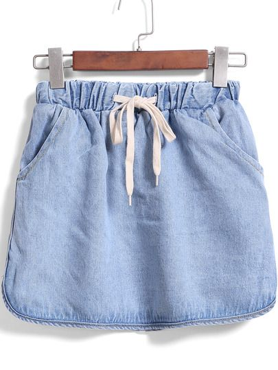 Shop Blue Drawstring Waist Denim Skirt online. SheIn offers Blue Drawstring Waist Denim Skirt & more to fit your fashionable needs.