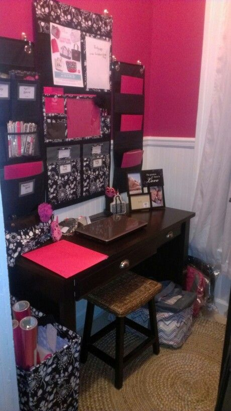 Pink and Black office Office Thirty-One Style #thirtyone #homeoffice #pinkandblack www.mythirtyone.com/lorikuramoto