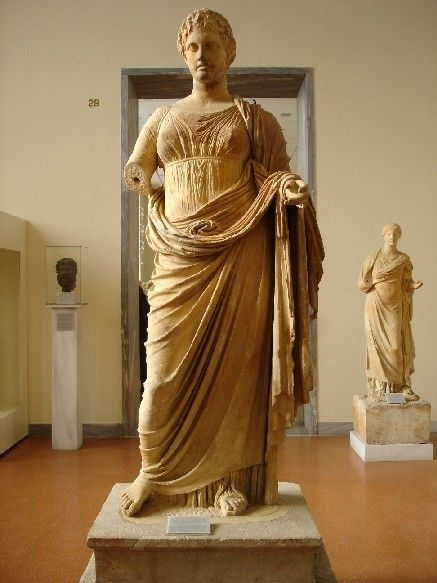 Goddess Themis. Found at Rhamnous Attica in the small temple of Nemesis.Themis, daughter of Ouranos and Gaia, was goddess of justice. The statue was carved by Chairestartos of Rhamnous. About 300 BC.
