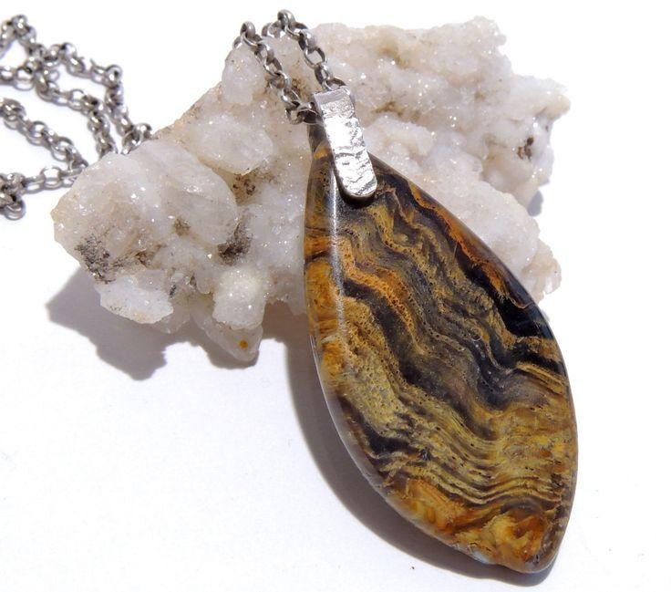 wood opal sterling silver pendant  gemstone,Unisex gift by Majlagalery on Etsy