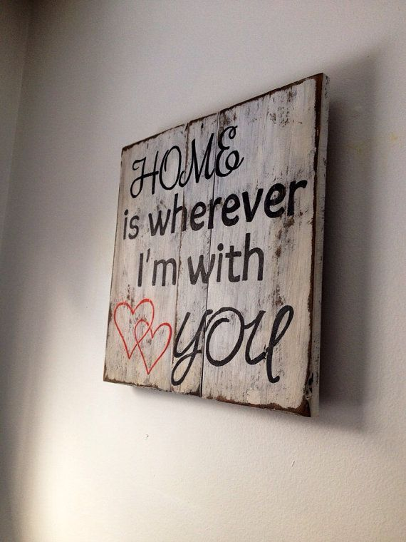 Home is wherever I'm with you rustic wood sign reclaimed wood wall decor #family