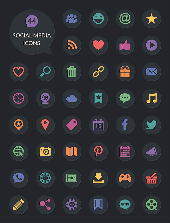 40 Social Media Icons PSD