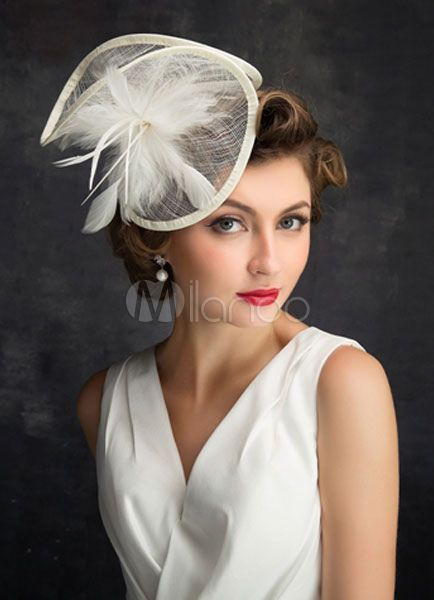 Bridal Headpieces Feather Wedding Hat Tulle Fascin…