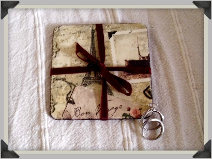 Handmade vintage coasters as wedding favors