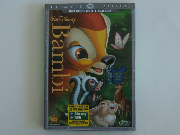 Disney Bambi Blu-Ray DVD 2 Disc Set Diamond Edition 2011 w/Collectible Slipcover #WaltDisneyStudioEntertainment