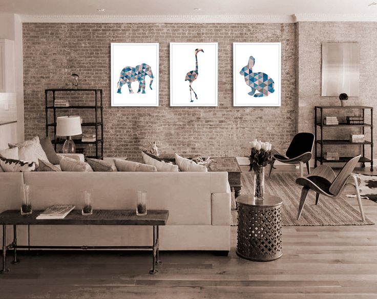 Modern wall decor. Triangle silhouettes of animals. Download posters.