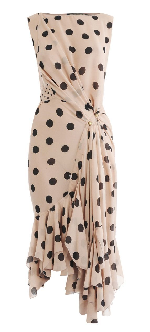 #swag Nina Ricci Silk Polka Dot Dress in Pink (blush)