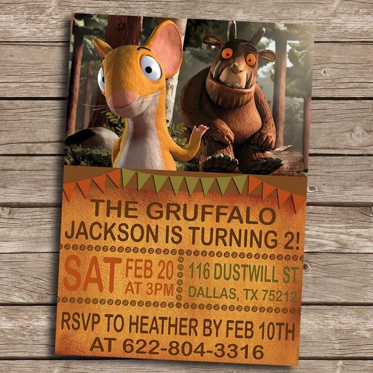 The Gruffalo Birthday Invitation- DIY Printable Digital The Gruffalo Invitation- The Gruffalo Birthday Party Invite-The Gruffalo by PoppyPartyPrint on Etsy https://www.etsy.com/listing/260762048/the-gruffalo-birthday-invitation-diy