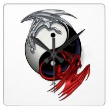 Yin Yang Clock: Fire and Ice Dragons Wallclock