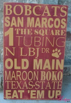 My husband would LOVE this for his man cave/office !!  Texas State Bobcat subway art!! Eat 'em up, Eat 'em up, go cats go!!