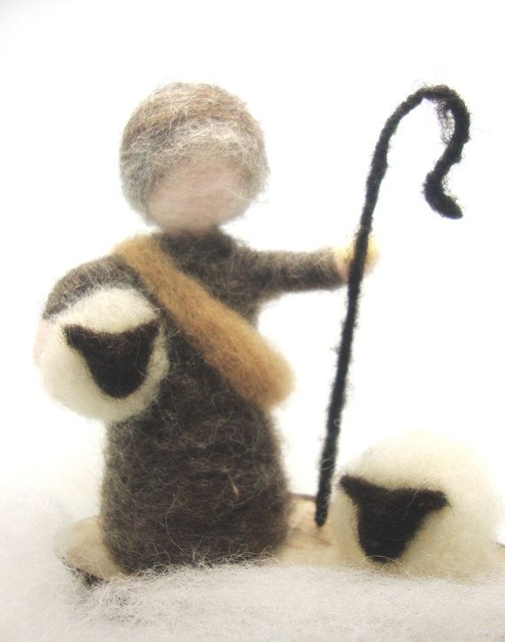 A shepperd and his sheep  Wool Needle Felt by madamecraig on Etsy, £23.00