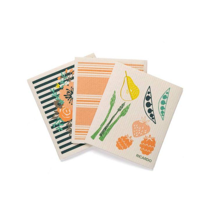 Ensemble de 3 linges fantastiques « Fruits et légumes » 9.99 $