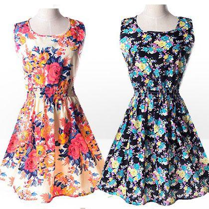 Платье шифон, лето женщины свободного покроя принт без рукавов ткань в полоску цветочный принт прорезиненная тесьма на поясе богемный пляж платьякупить в магазине Simple Show StyleнаAliExpress