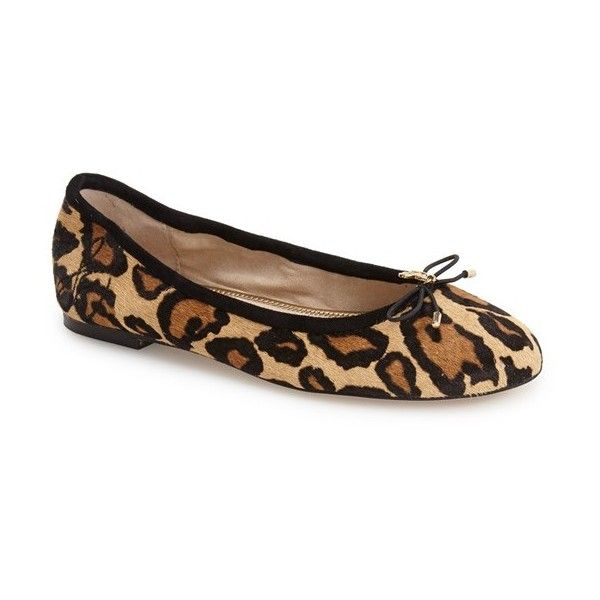 Women's Sam Edelman 'Felicia' Flat ($115) ❤ liked on Polyvore featuring shoes, flats, new nude leopard calf hair, leopard flat shoes, ballerina flat shoes, ballet pumps, nude shoes and bow flats
