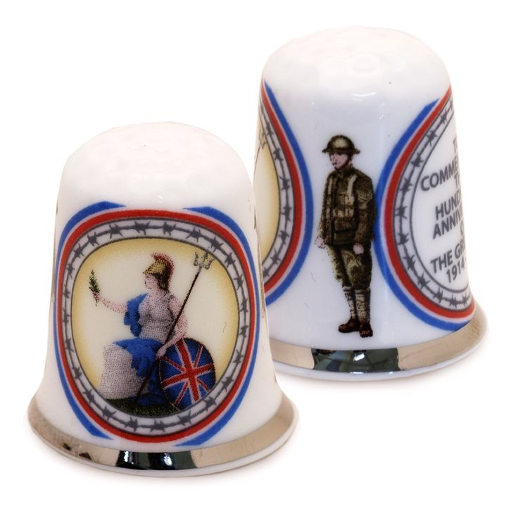 WW1 Commemorative Thimble. A poignant collectable thimble in a presentation box, ''To commemorate the hundredth anniversary of the Great War 1914-1918'' as the inscription states. In Fine China, it's decorated with Britannia on one side and two 'Tommies' on the other.
