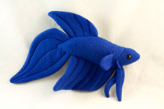 Betta fish plush royal blue veil tail by beezeeart on etsy for Toys for betta fish