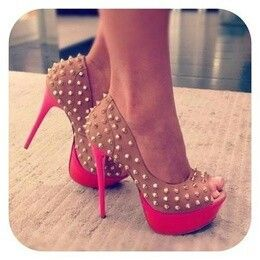 spiked hot pink and light browns pumps...super cute
