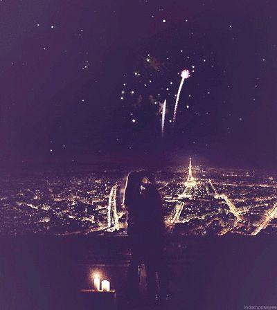 New Year's kiss love cute couples kiss dark night stars fireworks.. Effing PERFECT