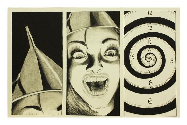 Dessin autoportrait réalisé à l'automne 2012 par Marilou Hamel, étudiante de première année.