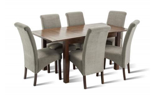 Riva extending dining table set, 6 seville fabric dining chairs, special offers