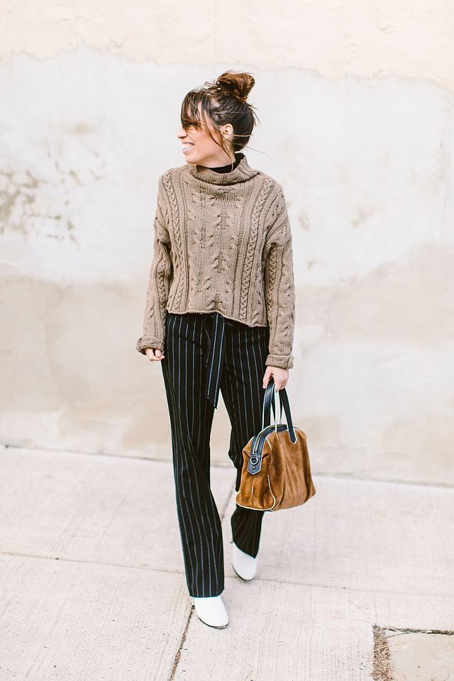 Wear This To Work: Trousers, White Ankle Boots, and Cozy Knits
