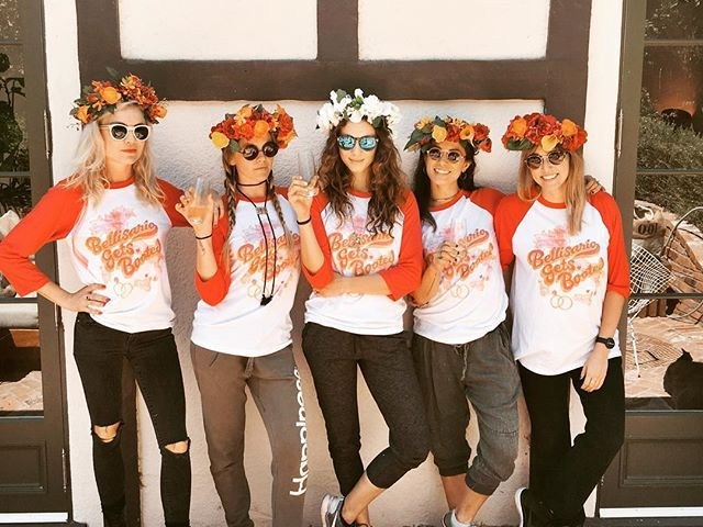 Pin for Later: Troian Bellisario's Having a Pretty Little Bachelorette Party Packed With Plenty of Style The Girls Hung Out in Their Matching Baseball Tees and Flower Crowns