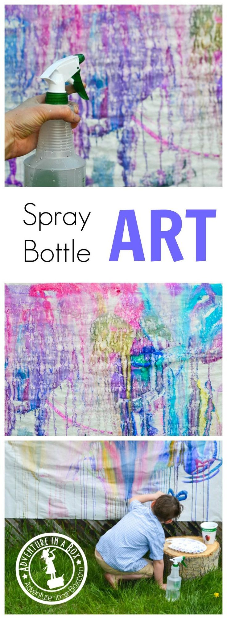 This summer, try this outdoor activity with kids - making spray bottle art in your backyard! Tons of fun and no mess.