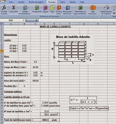 Cálculo de Cómputos métricos en Muros de Ladrillos http://ht.ly/DR9iP | #HojasdeExcel #Isoluciones #SoftWare