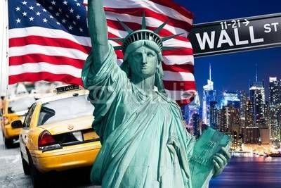 Fototapeta Nowy Jork, Panel szklany Nowy Jork, Fototapety Nowy Jork, Plexi Nowy Jork, nowy jork statua wolności żółte taksówki znak wall street symbole flaga, 35630427
