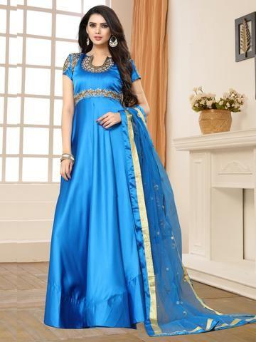 838bb4d6e6 Blue Color Pure Japan Satin Silk Salwar - NY7000A7012 | Buy Womens ...