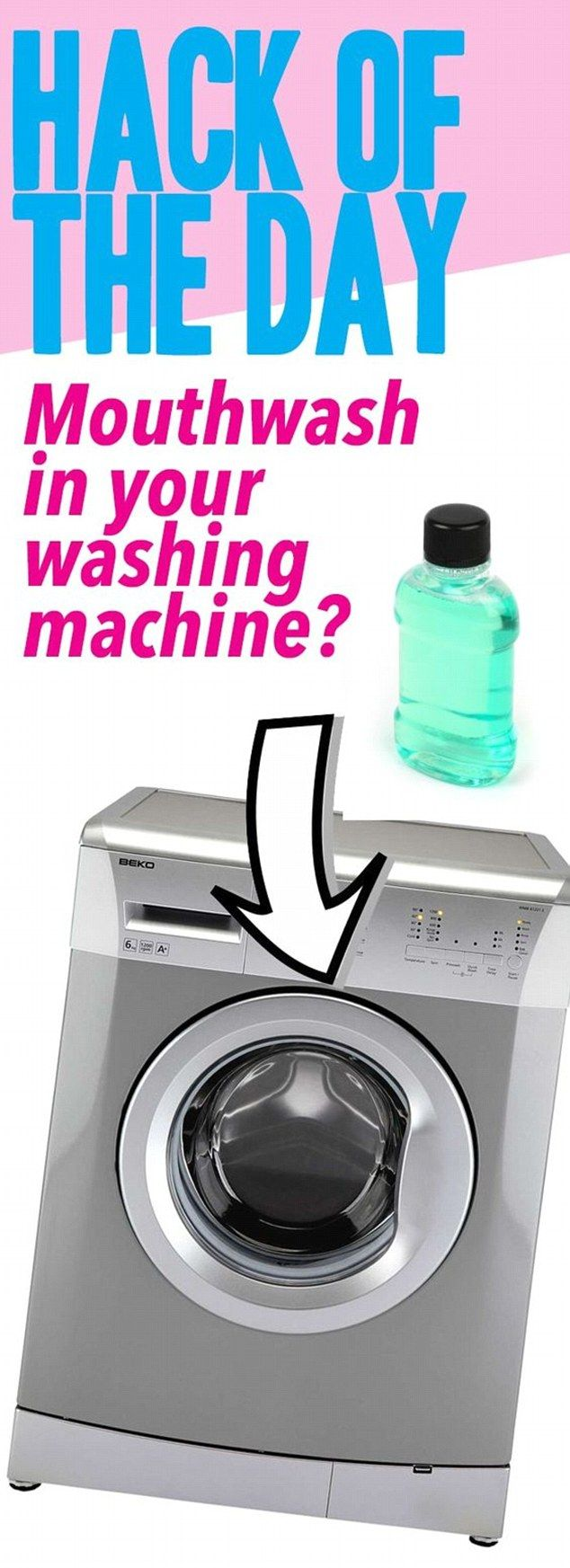 American Overlook says if your washing machine is dirty, pour half a cup of mouthwash into the empty machine and run it to help disinfect and clean it out