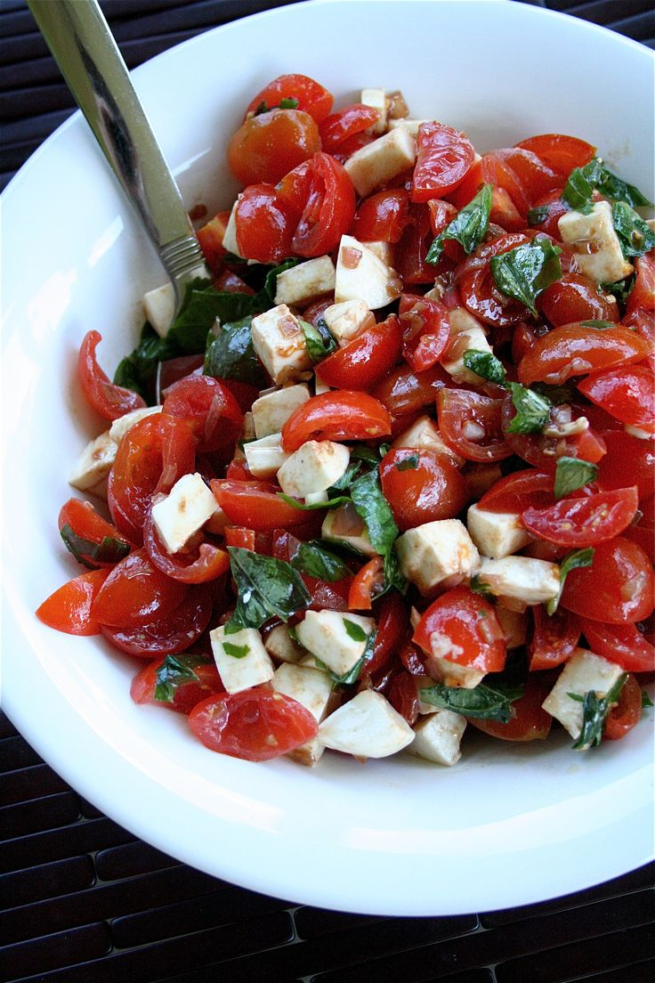 * Cherry Tomato Salad with Basil and Mozzarella *