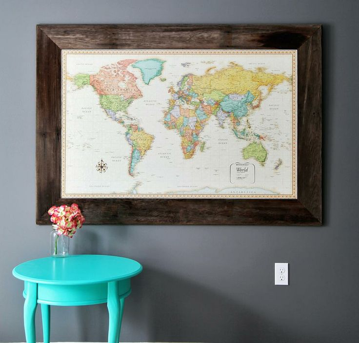 Framed world maps done by a local Saskatchewan business! The frame is made of reclaimed barn wood. Maybe they will frame my map for me?
