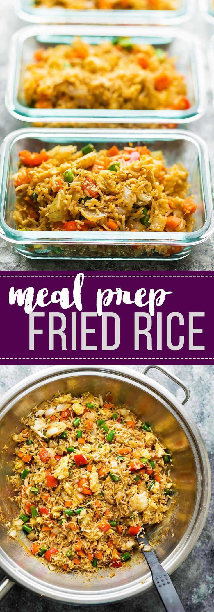 Prep a big batch of this meal prep vegetarian fried rice and stash some in the freezer! Perfect for those days when you don't have lunch planned, or for crazy weeknight dinners.