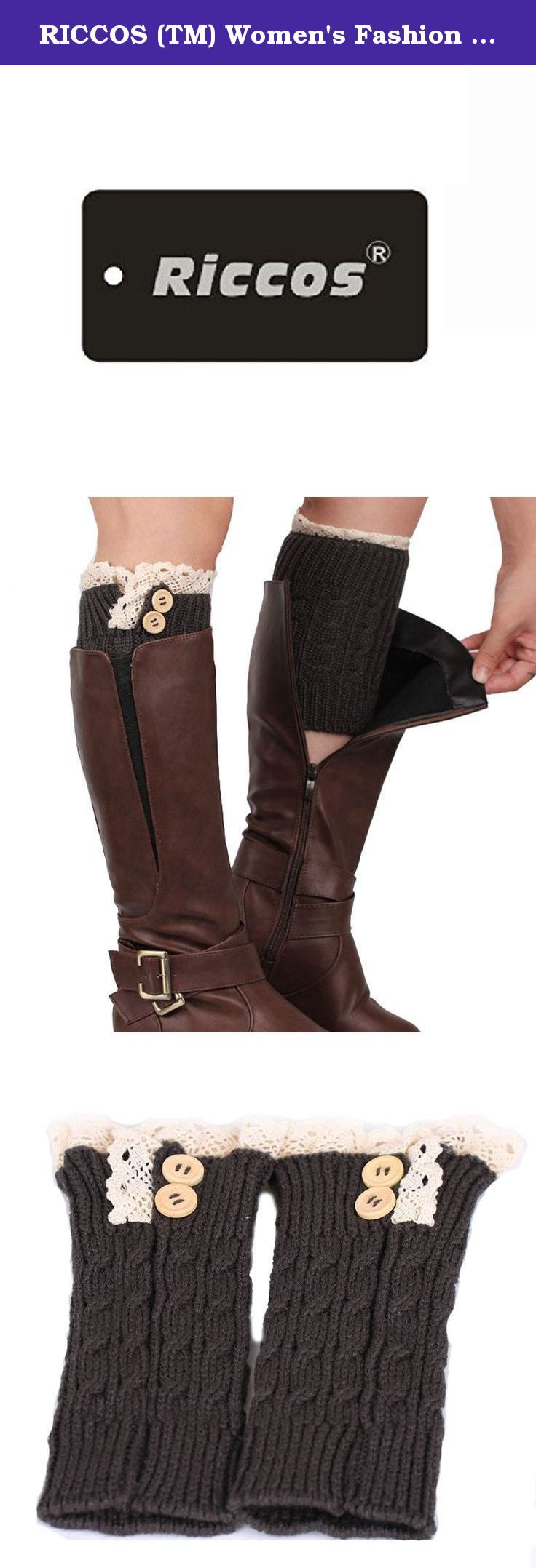 RICCOS (TM) Women's Fashion Winter Warm Knitted Short Buttons Boot Cuffs Leg Warmer Socks with Lace trim (Dark Grey). It is very warm and the design is keep up with the fashion. RICCOS knitted and Multi Colors leggings for a fun and fashionable effect.
