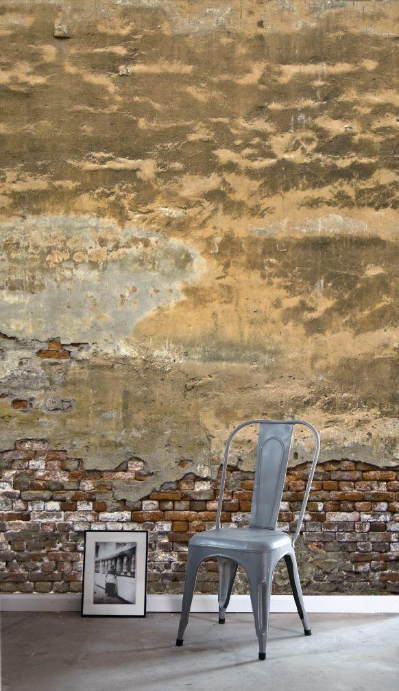 PhotowallXL oude Toscaanse muur behang, fotobehang uit de collectie Denim van Esta
