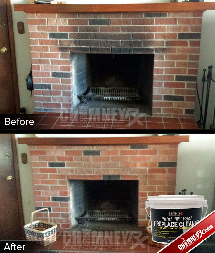 Smoke stains on a fireplace - before and after being cleaned with Paint