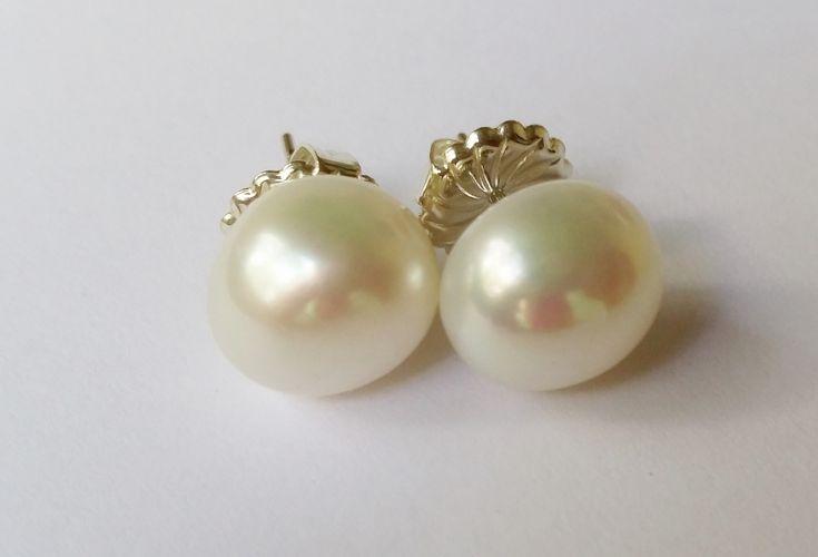 Salt Water & Fire 12mm baroque fresh water pearl stud earrings with 925 silver settings $95