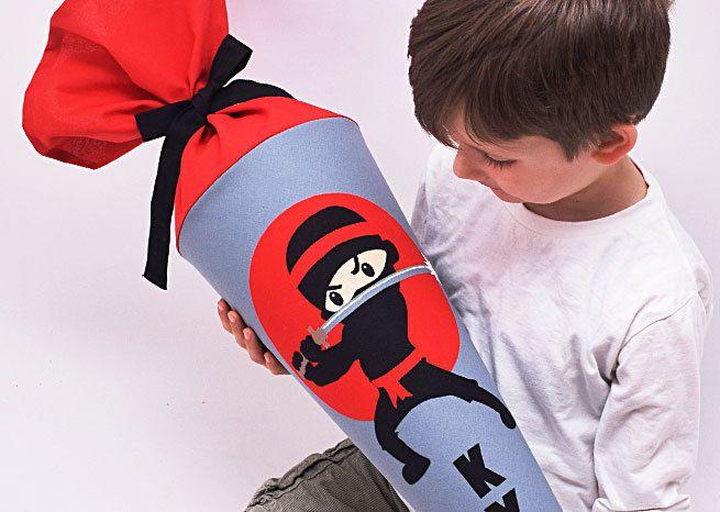 Schultüte Ninja mit Namen von Josefines Kinder auf DaWanda.com