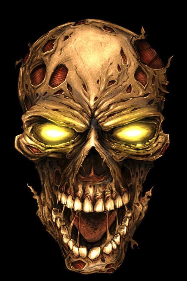 Zombie Skull 2-Finger Knuckle Keychain, Green