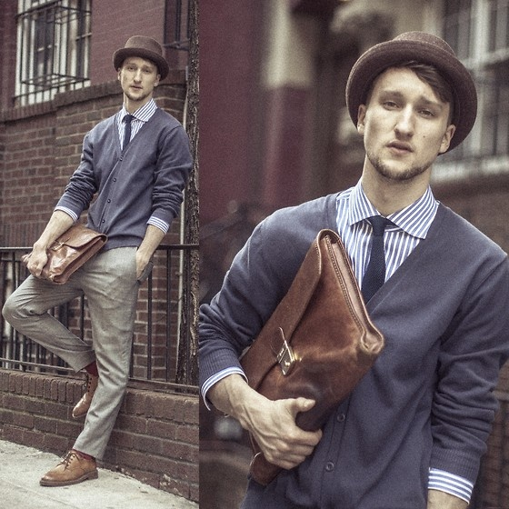 United Colors Of Benetton Cardigan, Hugo Boss Shirt, H Tie, Diesel Hat