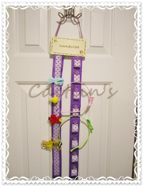 "Personalized hairclips and headbands organizer by Caitlinboutique, $12.50 - Love the ""pink / striped pink"" option"