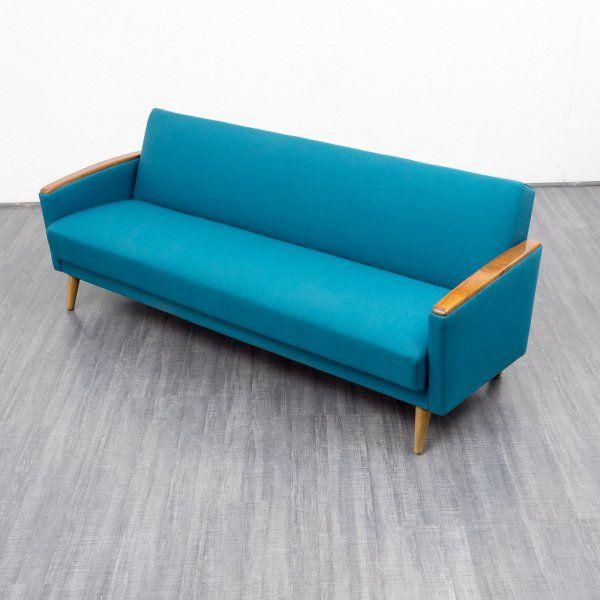 Velvet-Point - sofas 1960s folding couch, reupholstered (no. 7064) - Karlsruhe