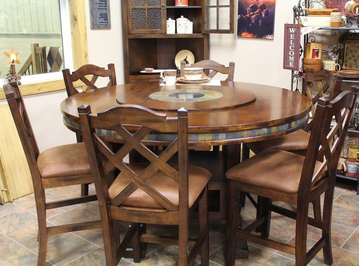 Round Table With Lazy Susan Rustic Ranch Furniture