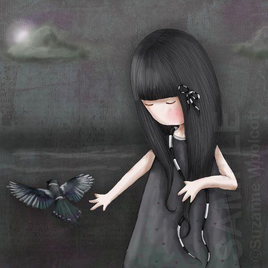 Gorjuss niña vestido negro