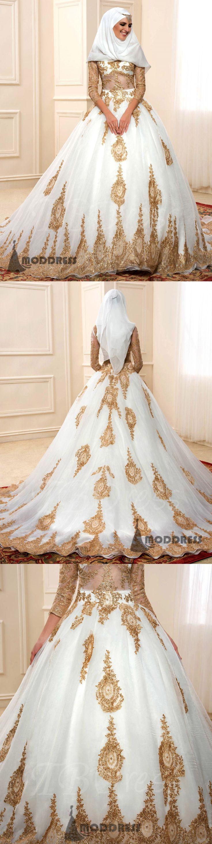 Muslim Wedding Dresses Long Sleeve Applique Ball Bridal Dresses,HS683  #fashion#promdress#eveningdress#promgowns#cocktaildress
