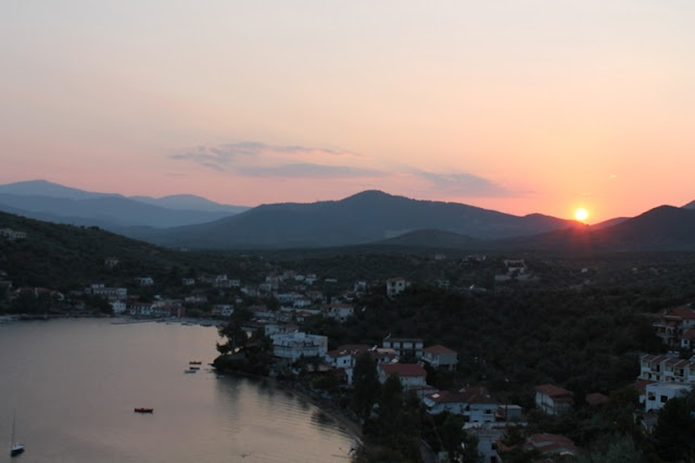 Sunset from the balcony at Pteleos