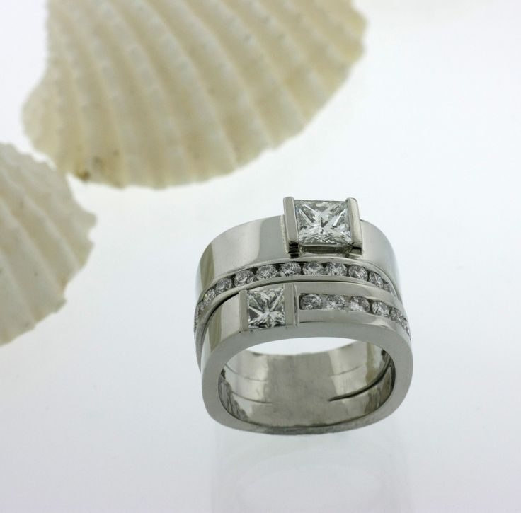 Multi Band Wedding Set with Princess Diamonds #rings #wedding #jewelry www.CostenCatbalue.com